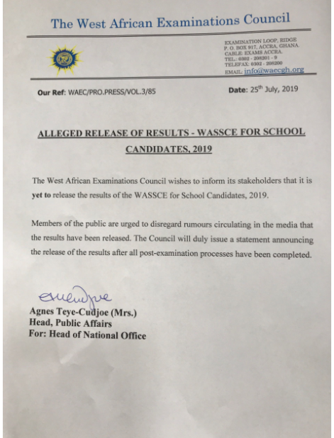 WAEC denies releasing 2019 WASSCE results - The Spot Of Latest